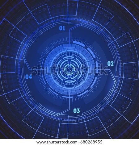 Futuristic Technology Background Or Wallpaper Round Radar Screen Target Concept Vector Illustration