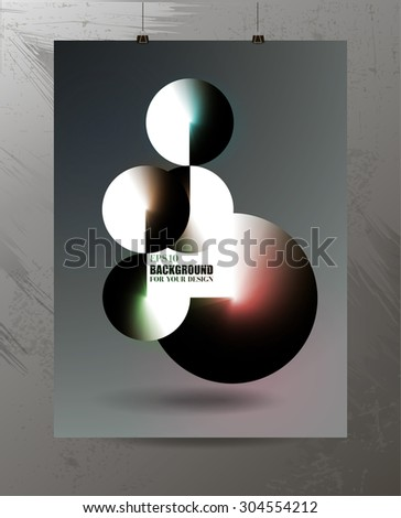 Futuristic three-dimensional composition balls on the poster, infographics, design web site, print - stock vector