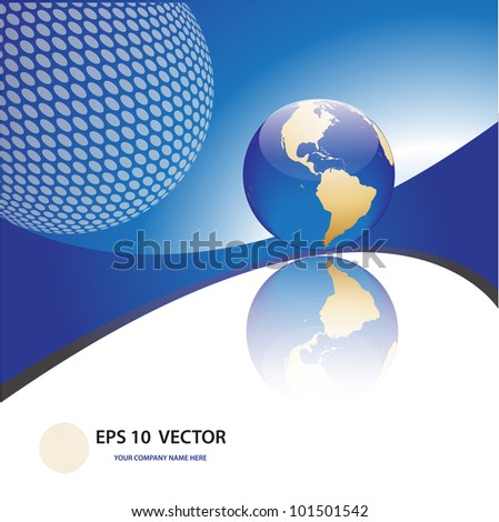 futuristic vector design template with earth globe - stock vector