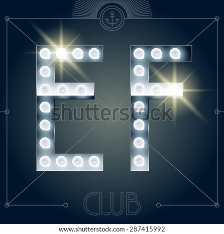 Futuristic vector lamp alphabet on glossy mirror background. Letters E F - stock vector