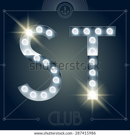 Futuristic vector lamp alphabet on glossy mirror background. Letters S T - stock vector