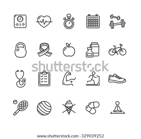 Fytness Health Outline Icon Set. Vector illustration - stock vector