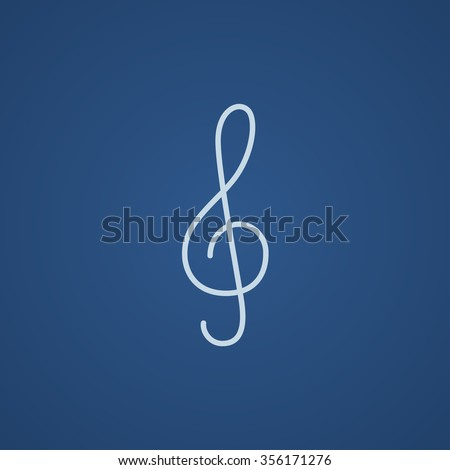 G-clef line icon for web, mobile and infographics. Vector light blue icon isolated on blue background. - stock vector