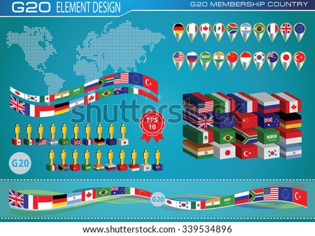 G20 countries flags or flags of the world (economic G20 countries flag) illustration . easy to modify - stock vector