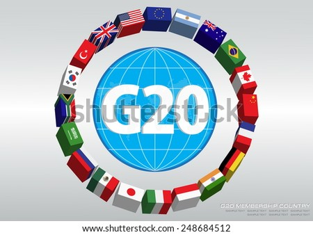 G20 country flags with 3D or flags of the world (economic G20 country flag / economic G20 membership countries ) illustration  - stock vector