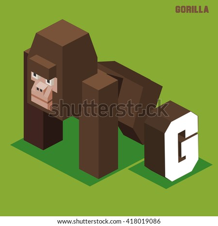G for gorilla, Animal Alphabet collection. vector illustration - stock vector