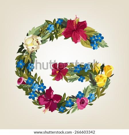 G letter. Flower capital alphabet. Colorful font. Uppercase.  Vector illustration. - stock vector