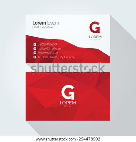 G Letter Logo Abstract Polygonal Background Business card template - stock vector