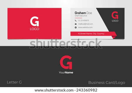 G Letter Logo Corporate Business card - stock vector