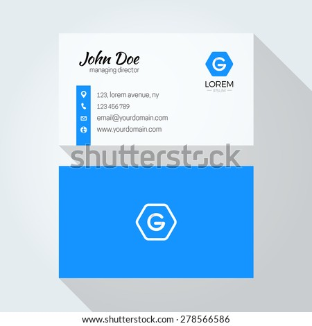 G Letter logo Minimal Corporate Business card - stock vector