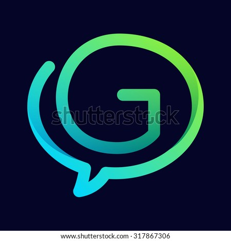 G letter with speech bubble line logo. Abstract trendy letter multicolored vector design template elements for your application or corporate identity. - stock vector