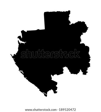 Gabon vector map isolated on white background. High detailed illustration silhouette og Gabon. - stock vector