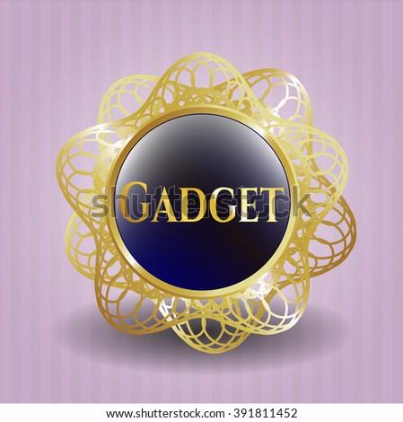 Gadget golden emblem or badge - stock vector