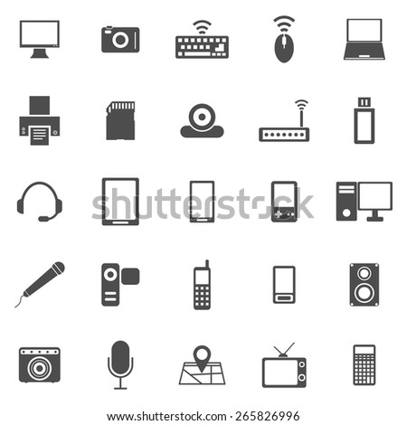 Gadget icons on white background, stock vector - stock vector