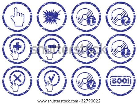 Gadget icons set. Grunge. White - dark blue palette. Vector illustration. - stock vector