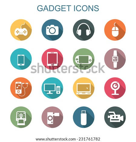 gadget long shadow icons, flat vector symbols - stock vector