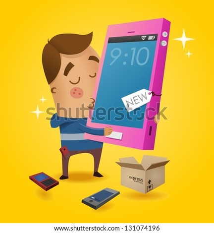 Gadget Lover with his new smartphone. Vector illustration - stock vector