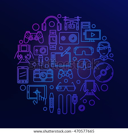 Gadgets Electronics Round Sign Vector Bright Stock Vector 470577665