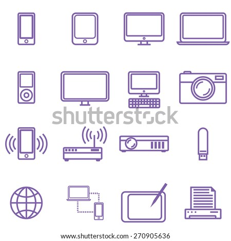 Gadgets and technology icons set, linear style. Vector illustration in simple line design. - stock vector