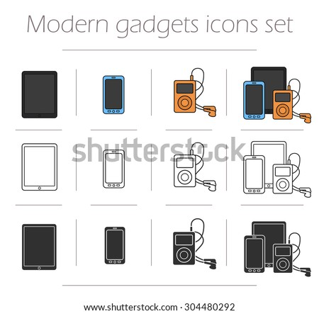Gadgets icons set. Modern electronics devices symbols. Tablet pc, smart phone, mp3 player. Web store appliances items. Color, contour and silhouette illustrations isolated on white - stock vector