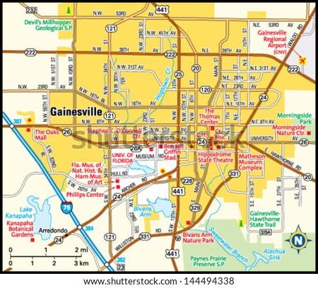 Gainesville Florida Area Map Stock Vector 2018 144494338