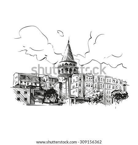 Galata Tower hand drawn, vector illustration - stock vector