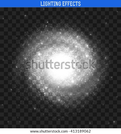 Galaxy effect. Spiral galaxy realistic. Clusters of stars planets. Spiral galaxy. Galaxy template. Milky Way Galaxy . Galaxy background. Element galaxy. Galaxy realistic with transparency.  - stock vector