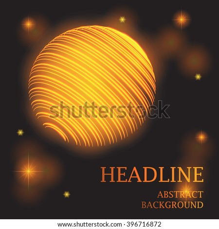 Galaxy planet gold space Universe Star Neon vector abstract background. EPS 10 - stock vector