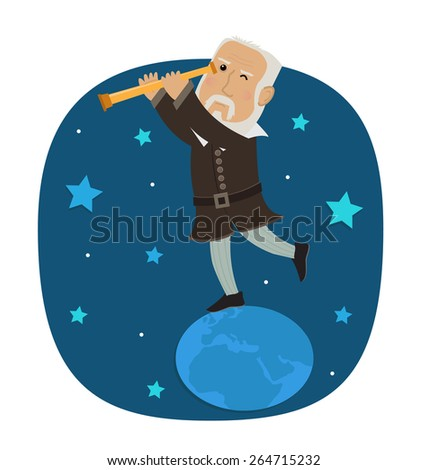 Galileo Galilei- Galileo is standing on earth looking in his telescope at the stars. Eps10 - stock vector