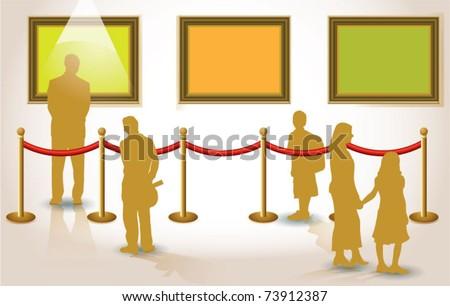 gallery interior advertising templete - stock vector