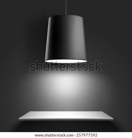 Gallery Interior with black lamp. Vector illustration - stock vector