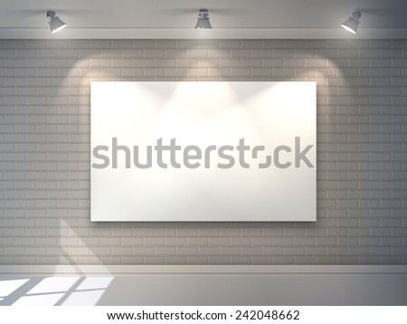 Gallery interior with blank billboard and spotlight poster vector illustration - stock vector