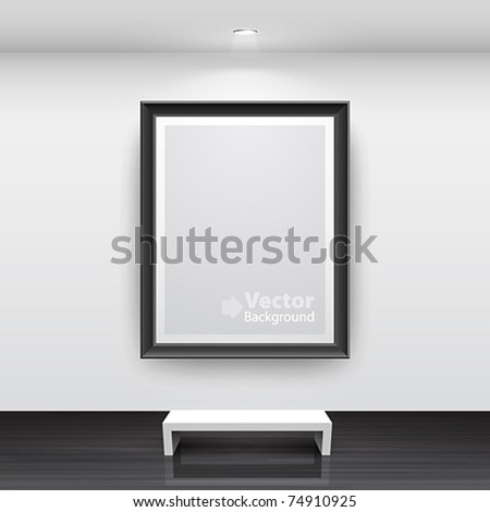 Gallery Interior with empty black frame on wall