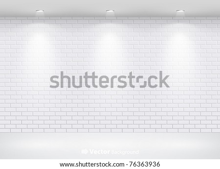 Gallery Interior with empty brick wall and lights - stock vector