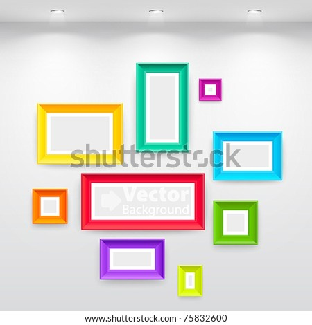 Gallery interior with empty colorful frames on wall stock vector