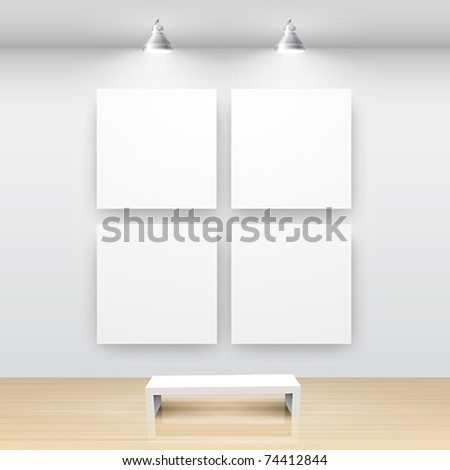 Gallery Interior with empty frame on wall - stock vector