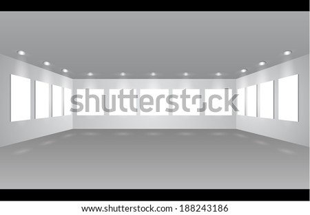 Gallery Interior with empty frames on wall - expo stand - stock vector