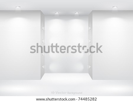 Gallery Interior with empty nicha and lights - stock vector
