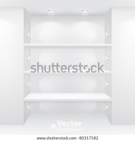 Gallery Interior with empty shelves. Vector illustration. - stock vector