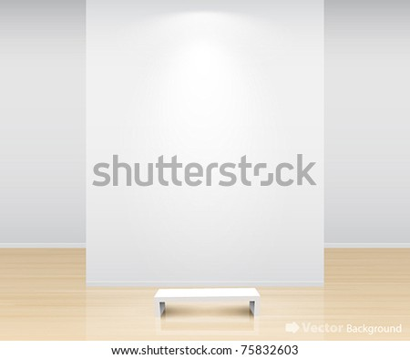 Gallery Interior with empty wall and light - stock vector