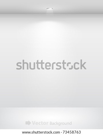 Gallery Interior with empty wall and lights - stock vector