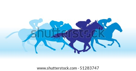 Gallop on horses - stock vector