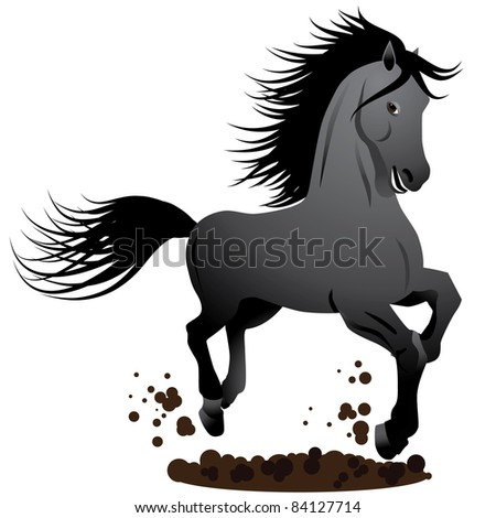 Galloping horse cartoon A dark gray horse gallops in the dirt. EPS 8 vector, cleanly built with no open shapes or strokes. Grouped for easy editing.