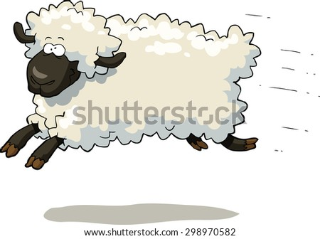 Galloping sheep on a white background vector illustration - stock vector