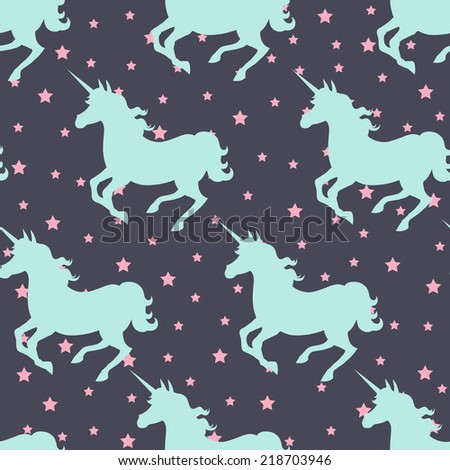 Galloping unicorn silhouette seamless vector background - stock vector