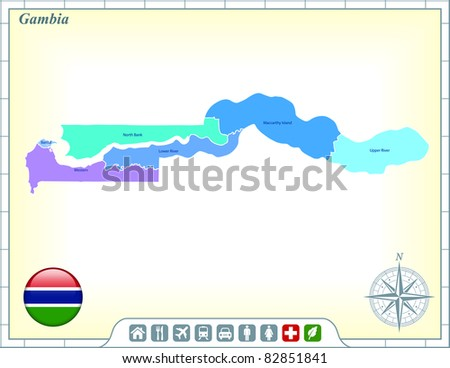 Gambia Map Stock Images RoyaltyFree Images Vectors Shutterstock - Gambia map