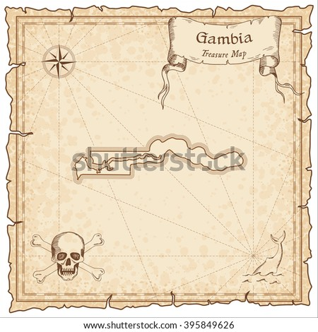 Gambia old pirate map. Sepia engraved template of Gambia pirate map. Stylized Gambia pirate map on vintage torn paper.