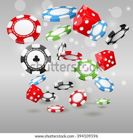 Gambling and casino symbols - flying poker chips and dice - stock vector