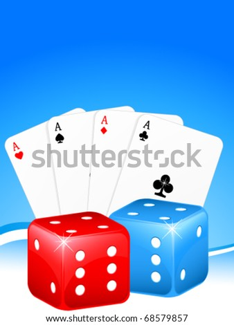 gambling background with cards and dice - stock vector