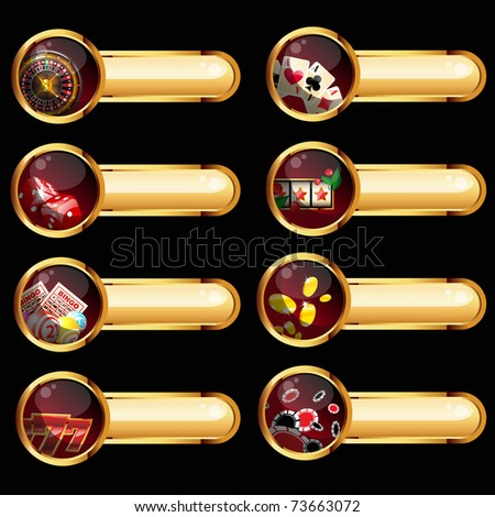 gambling buttons set on black background - stock vector